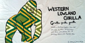 Western Lowland Gorilla by Rosalind Cuneo. Hand painted muslin.